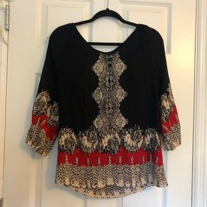 Angie Red, Black, & Cream Blouse